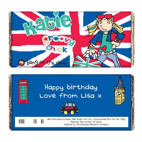 Personalised Bang on the Door Groovy London Chick Chocolate Bar